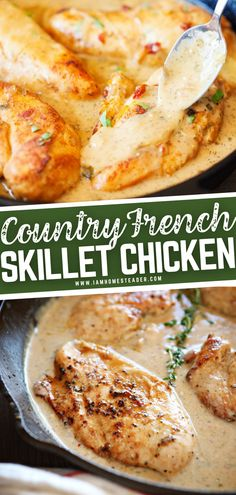 This recipe is great to have on hand for busy weeknights! Country French Skillet Chicken is a breeze to whip up and can be on your table in 25 minutes. Drizzled in a magical sauce, you will want to make this addicting meal again and again! Save this dinner idea!