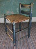 Original Shaker chair on display at Ohio Decorative Arts exhibit in Lancaster, Ohio
