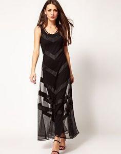 REVEL: Sheer Chevron Dress