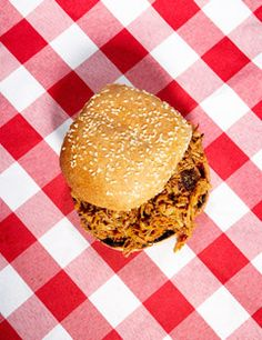 Easy Carolina Pork-Shoulder (pulled pork) Sandwich from Esquire {favorite pulled pork recipe, everything about this is soooo good! This picture doesn't do it justice.}