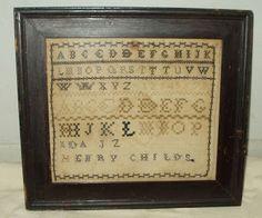 Early ABC School Girl Sampler On Homespun Original Frame Primitive Stitchery, Primitive Crafts, Cross Stitch Samplers, Cross Stitch Embroidery, Abc School, Vintage School, Sewing Notions, Vintage Gifts, Needlework