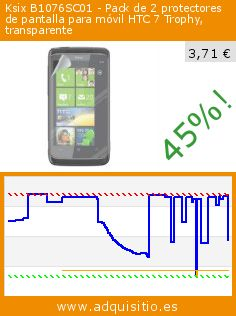 Ksix B1076SC01 - Pack de 2 protectores de pantalla para móvil HTC 7 Trophy, transparente (Electrónica). Baja 45%! Precio actual 3,71 €, el precio anterior fue de 6,70 €. http://www.adquisitio.es/ksix-k6/protector-pantalla-htc-7