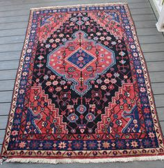 """4'6""""x7'1"""" Vintage Persian Rug by BEHomeCo on Etsy https://www.etsy.com/listing/276804124/46x71-vintage-persian-rug"""
