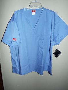 DICKIES unisex size 2XL or XL blue v-neck scrub top new w/tag #Dickies