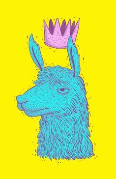 """Llama King"" Art Print by Lxromero on Society6."