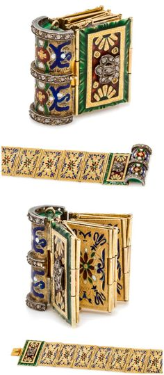 A Victorian yellow gold, silver, diamond and enamel folding book bracelet, circa 1860.