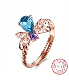 Charm Rose Gold Plated 925 Sterling Silver Ring Blue&Purple 2016