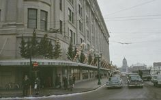 Hudson's Bay (Winnipeg) Christmas trees and candy canes decorate the sidewalk overhang of the Hudson's Bay in this 1961 photo of Portage Avenue and Memorial Boulevard. (University of Manitoba Winnipeg Building Index) Abandoned Churches, Abandoned Places, Antique Christmas Decorations, Vintage Christmas, Canadian Holidays, Ghost Of Christmas Past, Christmas Trees, University Of Manitoba, Vintage Instagram