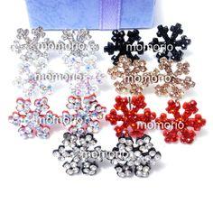 red snowflakes???ice star tree Snowflake rhinestones studs crystal earrings frost gift hip hop