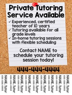 Tutoring Flyer (Lined Paper Theme), Editable Tutoring Flyer, Tutoring Business, Business Writing, Business Ideas, Business Cards, Math 4 Kids, Sixth Grade Reading, Pamphlet Design, Home Tutors