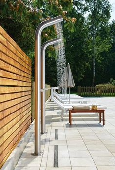 The Gamma-510 freestanding outdoor shower is an extremely useful addition to any garden, deck, poolside or patio. This smart, stainless steel model is just the answer if you want to rinse off from a day in the pool, the beach, the back yard under an uber-minimalist exterior that will become a garden feature in its own right. Made from a single piece, chunky 10 cm diameter column, the outdoor shower bends to create its own multi-jet shower head for a steady flow of fresh, warm rinsing water…
