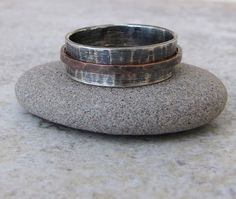 Mens Wedding Band Silver Copper Spinner Ring by SilverSmack Rustic Wedding Bands, Unusual Wedding Rings, Wedding Rings For Women, Wedding Ring Bands, Rings For Men, Groom Ring, Spinner Rings, Wide Rings, Silver Man