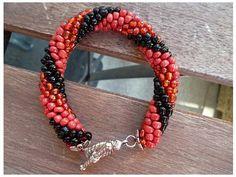 red and black beaded crochet rope bracelet. $18.00, via Etsy.