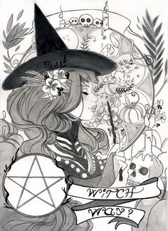 Happy Halloween everyone ! Inktober 2017 - Witch way ? Fantasy Witch, Witch Art, Pentacle, Wicca, Witchcraft Tattoos, Witchy Wallpaper, Pentagram Tattoo, Pagan Art, Occult Art