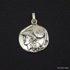 ATHENA GODDESS COIN PENDANT 925 STERLING SILVER GREEK HANDMADE ART UNIQUE #IreneGreekJewelry #Pendant