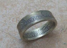 Silver Coin Ring 1914 Barber Quarter 90% Fine Silver Jewlery Size 8 1/2
