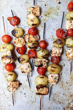 Grilled Salmon Potato and Tomato Kebabs