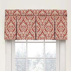 Waverly Donnington Damask Box Pleat Cotton Valance in Crimson