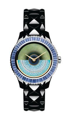Montre Dior VIII Grand Bal Haute Couture, 38 mm, masse oscillante en or jaune, nacre bleue et turquoise sertie de diamants, boîtier et bracelet en céramique high-tech noire et or blanc