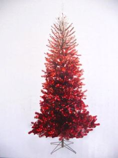 RARE! Red OMBRE Christmas Tree: Deep Red into Silver 7 ft Christmas Tree Prelit
