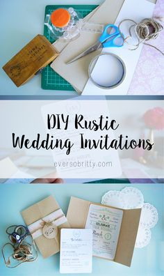 Rustic Wedding Invitations | DIY Tutorial | Find more at EverSoBritty.com