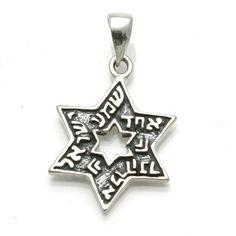 Sterling Silver Jewish Star of David Shema Yisrael Pendant