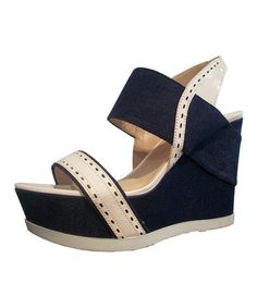Take a look at this Navy & Off-White Idalina Wedge by Joan & David on #zulily today!