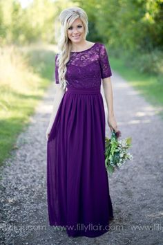 The perfect purple long bridesmaid dress for you your wedding!