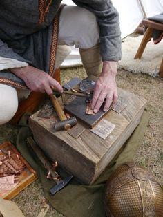 Wulfheodenas member Dave Roper (Ganderwick Creations) demonstrates pressblech manufacture. Images by Lindsay Kerr.