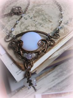 Lunar Path Necklace - Wire Wrapped Copper Necklace With Synthetic Opal - Whimsical Ornate Romantic Necklace -