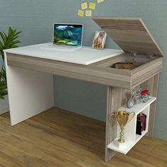 HIDDEN Bureau White / Avola - Computer Workstation - Home Office Desk - Writing Table with shelf unit in modern Design . Computer Desk Design, Office Table Design, Computer Workstation, Home Office Desks, Home Office Furniture, Furniture Design, Desk Redo, Diy Desk, Study Table Designs