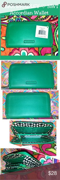 """Vera Bradley Faux Leather Accordian Clutch Wallet New with tags Vera Bradley Accordian Wallet in a lovely """"Spring"""" Green color. RV $58.00 New faux leather version of one of their most beloved handbag accessories.   This Zip around clutch wallet measures 7"""" x 4"""" and has a zip  change pocket inside as well as 2 larger slip pockets for cash, etc. & a total of 12 Slip pockets for cards, ID and extra space for small items ~ Fits Galaxy S series phones  (S4 S5 S6 S7) as well as Iphones (not Plus)…"""