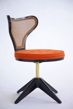 Edward Wormley Revolving Chairs, Set of Four | From a unique collection of antique and modern dining room chairs at https://www.1stdibs.com/furniture/seating/dining-room-chairs/