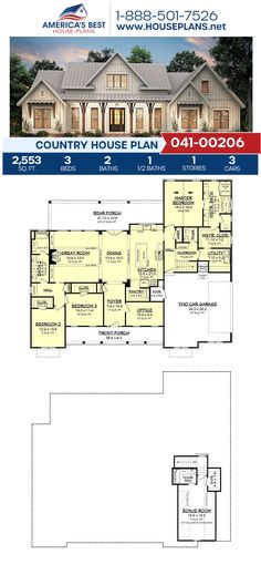 Country House Plan Get to know one of our best selling Modern Farmhouses with a charming Country exterior., 3 bedrooms, bathrooms, a kitchen island, Best House Plans, Country House Plans, Dream House Plans, Modern House Plans, Dream Houses, New Houses, House Design Plans, Modern Floor Plans, Country Houses