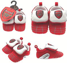06009dbca ARSENAL FC BABIES RED FOOTBALL CLUB BOOTS BOOTIES BABY SLIPPERS PRAM SHOES  AFC
