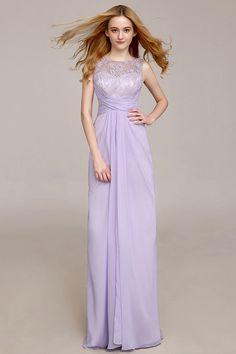 Neu Langes Lila A Linie Rund Ausschnitt Ruching Abendkleider aus Spitze Persunshop
