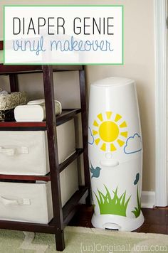 Add vinyl to your Diaper Genie - a great way to brighten up the nursery! (Or a neat baby shower gift!