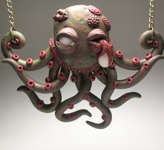Zombie Octopus Necklace  Polymer Clay Horror by DeliciousHobo, $50.00