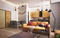 MyHousePlanShop: Contemporary Asian House Designed With A Beautiful Balcony And Modern Interior Views Yellow Interior, Modern Interior, Interior Architecture, Asian House, Modernisme, Open Layout, Led Licht, Modern Minimalist, Living Room Decor