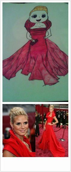 Inspired by John Galliano's red dress Hidi Klum wore to the oscars in 2008