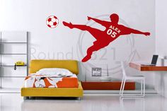 3 COLOR Soccer Wall Decal With Personalized Name & Number and Soccer Ball - Children's Room - Infant Room Decal Soccer Bedroom, Football Bedroom, Kids Bedroom, Bedroom Themes, Bedroom Decor, Bedroom Ideas, Soccer Decor, Ideas Habitaciones, Girl Room
