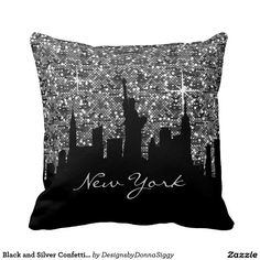 #Black and #Silver #Confetti Glitter #New #York #Skyline #Pillow #zazzlebesties #zazzle #home #shopping  #PopularPillows #CutePillows #homedecor