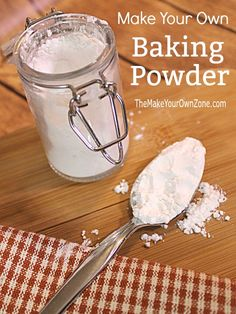 Make Your Own Baking Powder Substitute Make Your Own Baking Powder - A simple recipe to create a homemade baking powder with no aluminum sulfate. Make Baking Powder, Homemade Baking Powder, Baking Powder Recipe, Homemade Dry Mixes, Homemade Spices, Homemade Seasonings, Substitute Baking Powder, Baking Powder Biscuits, Baking Tips