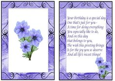pretty purple flowers A5 Insert, also can be seen with bow and butterflies, makes a pretty card