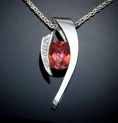 mystic topaz necklace - Argentium silver pendant - sunrise topaz - statement necklace - designer jewelry - CZ - orange - pink - 3374