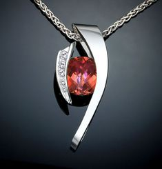 mystic topaz necklace - Argentium silver pendant - sunrise topaz - statement necklace - designer jewelry - CZ - orange - pink - 3374