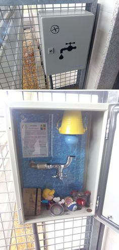A neat container on a multicache. Looks like water in this geocache goes up! That should at least help the contents on the bottom stay dry. (Daniel Azevedo pics, pinned to Creative Geocache Containers - https://www.pinterest.com/ibgeocaching/creative-geocache-containers/) #IBGCp