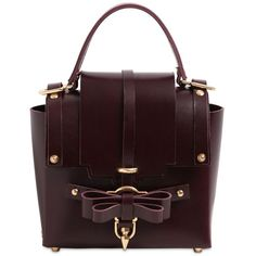NIELS PEERAER Medium Bow Buckle Leather Shoulder Bag (21 990 UAH) ❤ liked on Polyvore featuring bags, handbags, shoulder bags, burgundy, genuine leather handbags, burgundy leather purse, brown leather shoulder bag, leather handbags and burgundy leather handbags