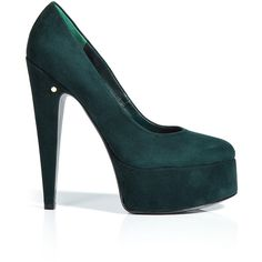 LAURENCE DACADE Bottle Green Suede Platform Pumps