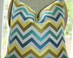 Modern Turquoise Teal Blue Grey Jacquard Zig Zag Pillow